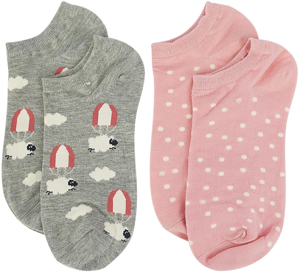 Носки женские Kawaii Factory Овечки, цвет: розовый, серый, 2 пары. 2006000073219. Размер 35/392006000073219Носки Kawaii Factory изготовлены из качественного материала на основе хлопка. Носки хорошо держат форму и обладают повышенной воздухопроницаемостью.
