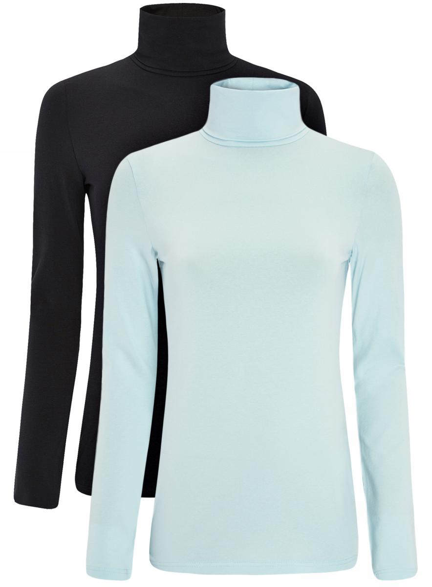 Водолазка женская oodji Ultra, цвет: голубой, черный, 2 шт. 15E02001T2/46147/7029N. Размер XXS (40)15E02001T2/46147/7029NБазовая женская водолазка oodji Ultra выполнена из эластичной хлопковой ткани. У модели воротник-гольф и стандартные длинные рукава. В набор входит две водолазки.