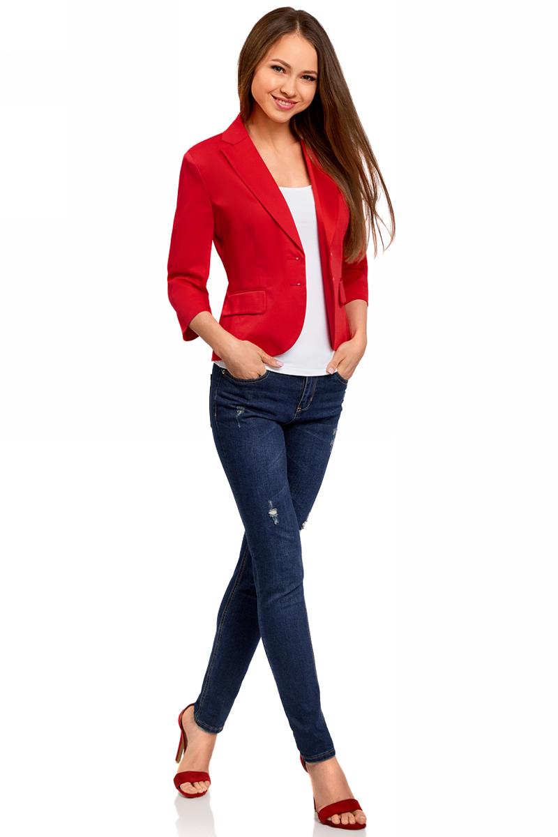 Жакет женский oodji Collection, цвет: красный. 21203085-2B/42307/4500N. Размер 42-170 (48-170)21203085-2B/42307/4500NЖакет базовый с рукавом 3/4
