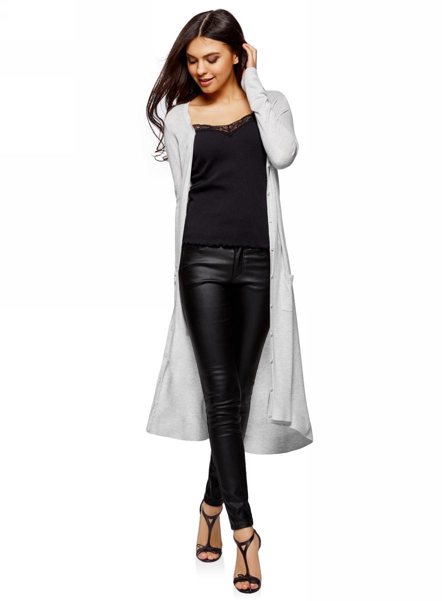 Кардиган женский oodji Ultra, цвет: светло-серый меланж. 63212582/47264/2000M. Размер S (44)63212582/47264/2000MКардиган удлиненный на пуговицах