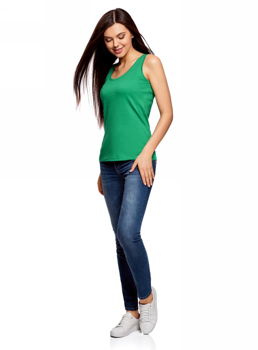 Майка женская oodji Ultra, цвет: изумрудный. 14305031B/46908/6D00N. Размер S (44)14305031B/46908/6D00NМайка oodji изготовлена из качественного хлопка. Трикотажная модель выполнена без рукавов и с круглым глубоким вырезом.