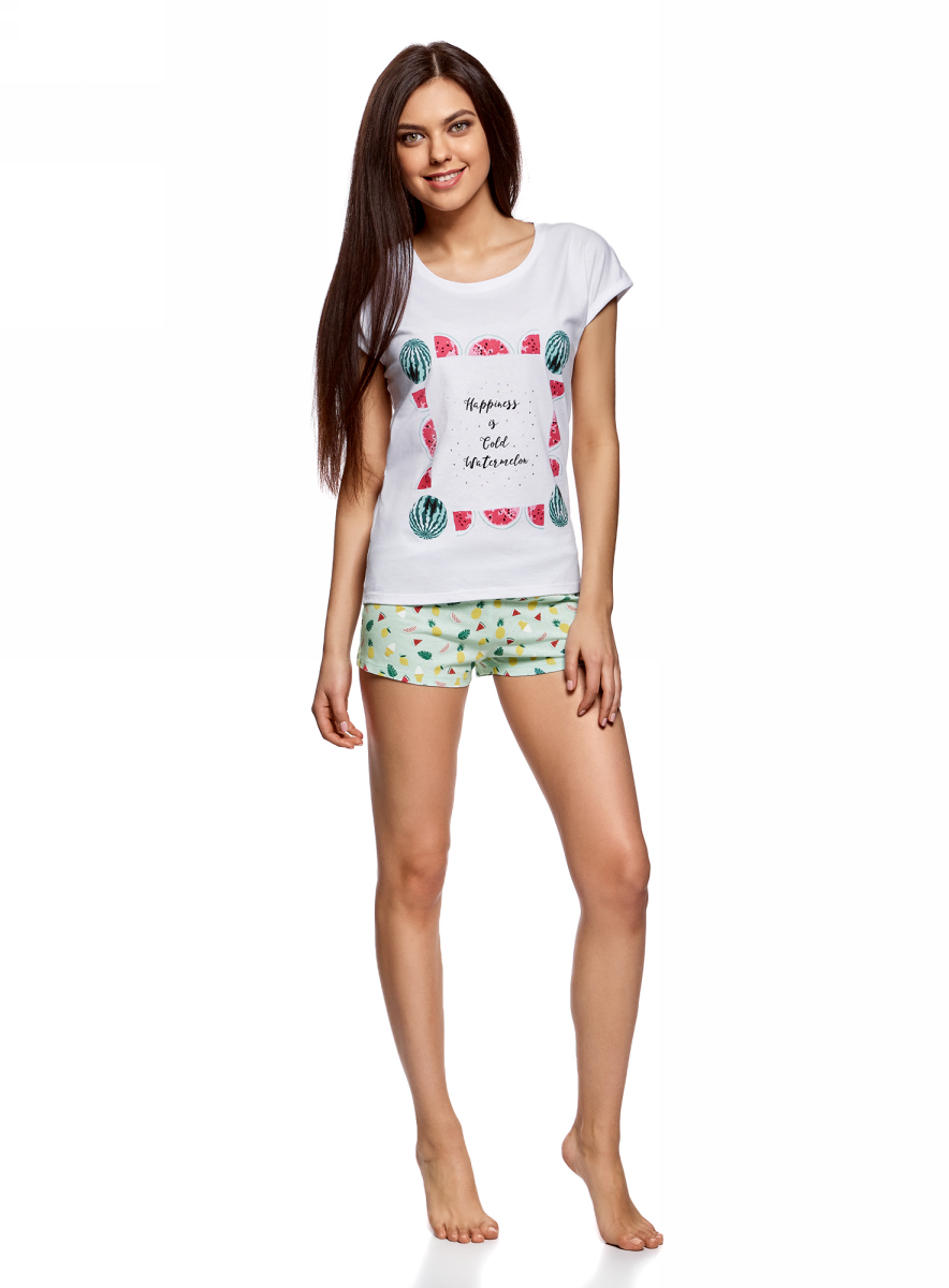 Пижама жен oodji Ultra, цвет: бирюзовый, белый. 56002205/46899/7310P. Размер S (44)56002205/46899/7310PПижама с шортами принтованная