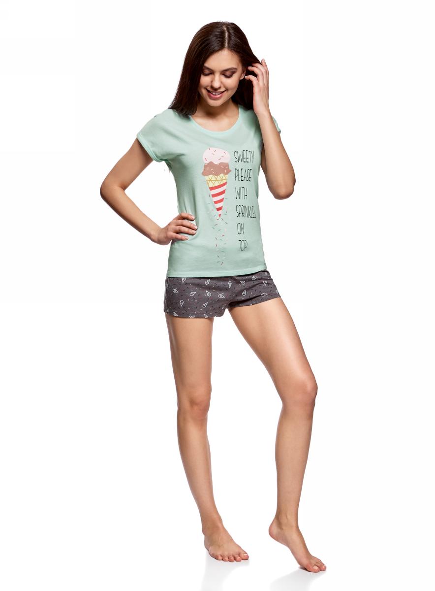 Пижама женская oodji Ultra, цвет: темно-серый, ментоловый. 56002205-4/46899/2P. Размер L (48)56002205-4/46899/2PЖенская пижама от oodji, состоящая из футболки и шорт, выполнена из хлопка и полиэстера. Футболка с короткими цельнокроеными рукавами и круглым вырезом горловины спереди оформлена принтом. Принтованные шорты на талии дополнены шнурком-утяжкой.