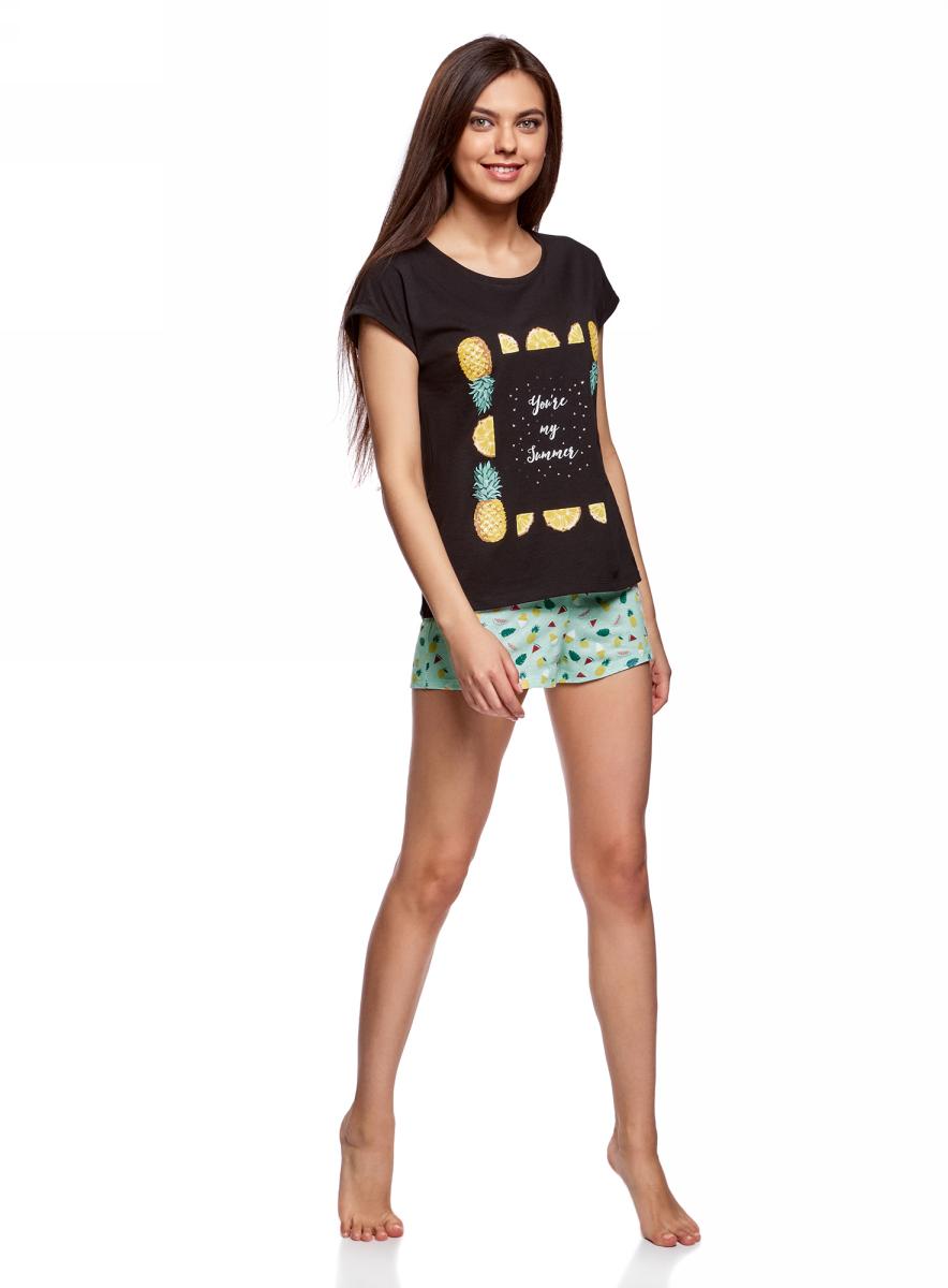 Пижама женская oodji Ultra, цвет: черный, ментоловый. 56002205/46899/2952P. Размер M (46)56002205/46899/2952PЖенская пижама от oodji, состоящая из футболки и шорт, выполнена из хлопкового материала. Футболка с короткими цельнокроеными рукавами и круглым вырезом горловины спереди оформлена принтом. Принтованные шорты на талии дополнены эластичной резинкой. Объем талии регулируется с внешней стороны при помощи шнурка-кулиски.