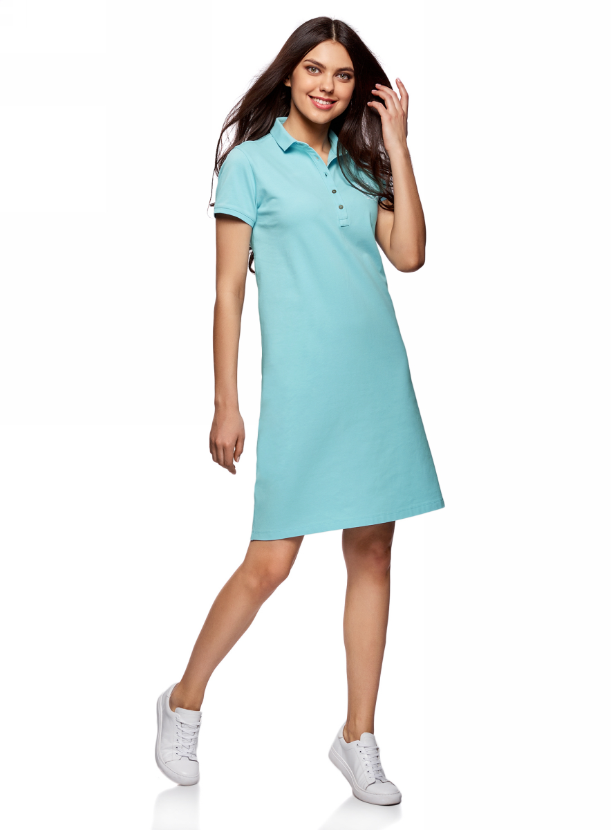 Платье oodji Collection, цвет: бирюзовый. 24001118-1/47005/7300N. Размер XS (42)24001118-1/47005/7300NПлатье-поло от oodji выполнено из ткани пике. Модель с короткими рукавами и отложным воротником на груди застегивается на пуговицы.