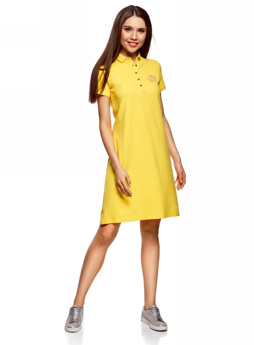 Платье oodji Collection, цвет: лимонный. 24001118-1/47005/5100N. Размер L (48)24001118-1/47005/5100NПлатье-поло от oodji выполнено из ткани пике. Модель с короткими рукавами и отложным воротником на груди застегивается на пуговицы.