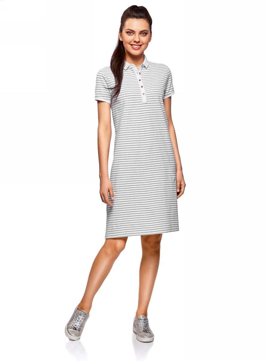 Платье oodji Collection, цвет: серый, белый. 24001118-4/47540/2310S. Размер S (44)24001118-4/47540/2310SПлатье-поло от oodji выполнено из ткани пике. Модель с короткими рукавами и отложным воротником на груди застегивается на пуговицы.