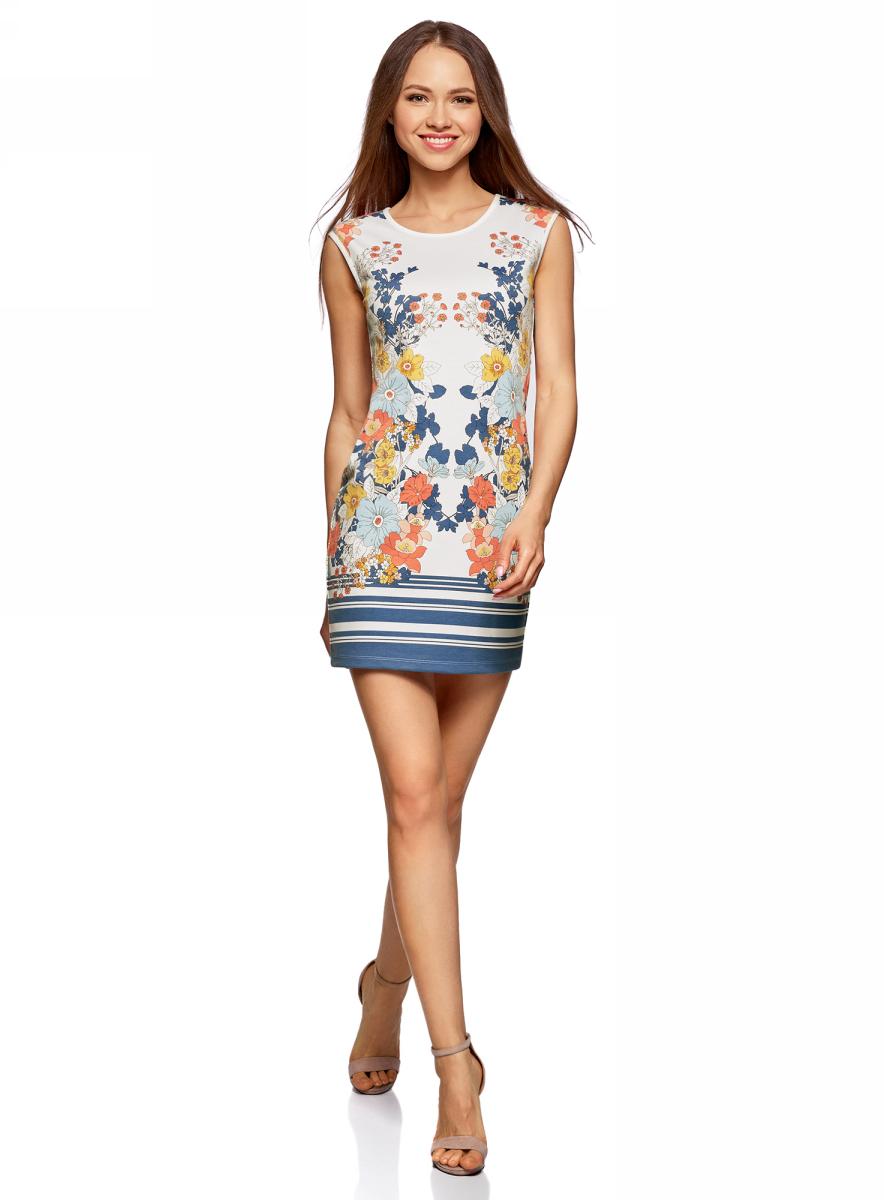 Платье oodji Ultra, цвет: белый, синий. 14008014-4M/45396/1275F. Размер L (48)14008014-4M/45396/1275FТрикотажное платье oodji изготовлено из качественного смесового материала. Модель с круглым вырезом горловины и без рукавов оформлена цветочным принтом.