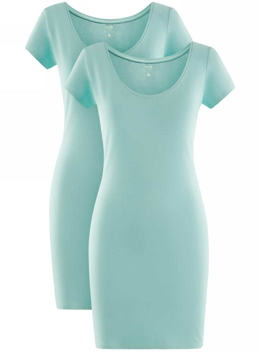 Платье oodji Ultra, цвет: бирюзовый, 2 шт. 14001182T2/47420/7300N. Размер L (48)14001182T2/47420/7300NТрикотажное платье oodji изготовлено из качественного эластичного хлопка. Облегающая модель выполнена с круглым вырезом горловины и короткими рукавами. В комплекте - 2 платья.