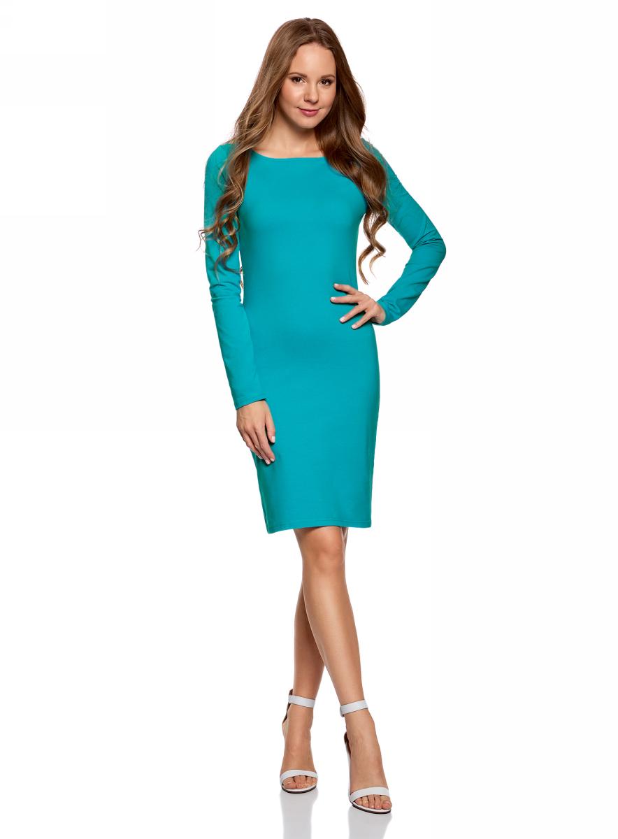 Платье oodji Ultra, цвет: бирюзовый. 14001183B/46148/7300N. Размер XL (50)14001183B/46148/7300NПлатье oodji Ultra выполнено из качественного трикотажа. Модель с круглым вырезом горловины и длинными рукавами выгодно подчеркивает достоинства фигуры.