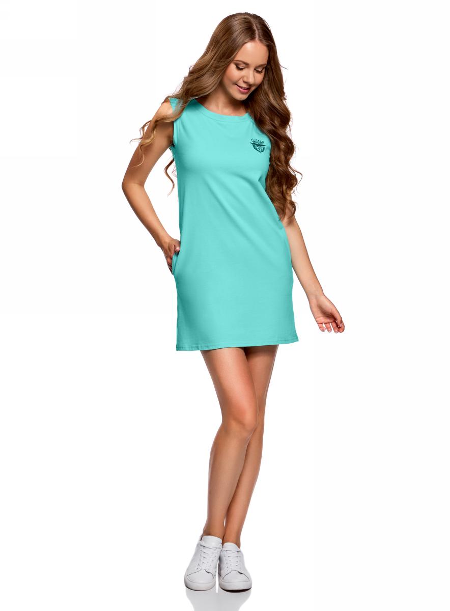 Платье oodji Ultra, цвет: бирюзовый. 14005074-4/46149/7301N. Размер XS (42)14005074-4/46149/7301NТрикотажное платье oodji изготовлено из качественного материала. Модель прямого силуэта выполнена с круглым вырезом горловины и без рукавов.
