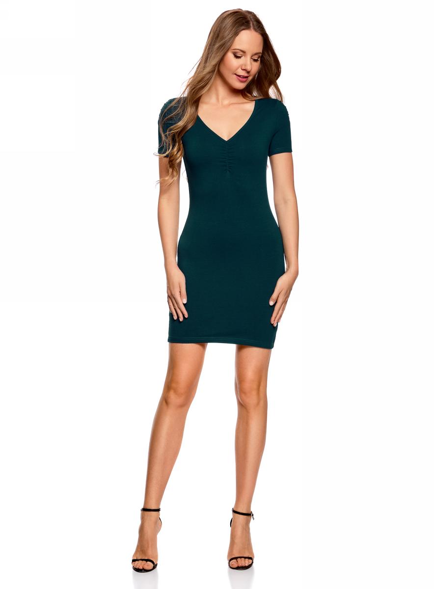 Платье oodji Ultra, цвет: темно-бирюзовый. 14001082B/47490/7400N. Размер XS (42)14001082B/47490/7400NОблегающее платье oodji Ultra выполнено из качественного трикотажа. Модель мини-длины с V-образным вырезом горловиныи короткими рукавамивыгодно подчеркивает достоинства фигуры.