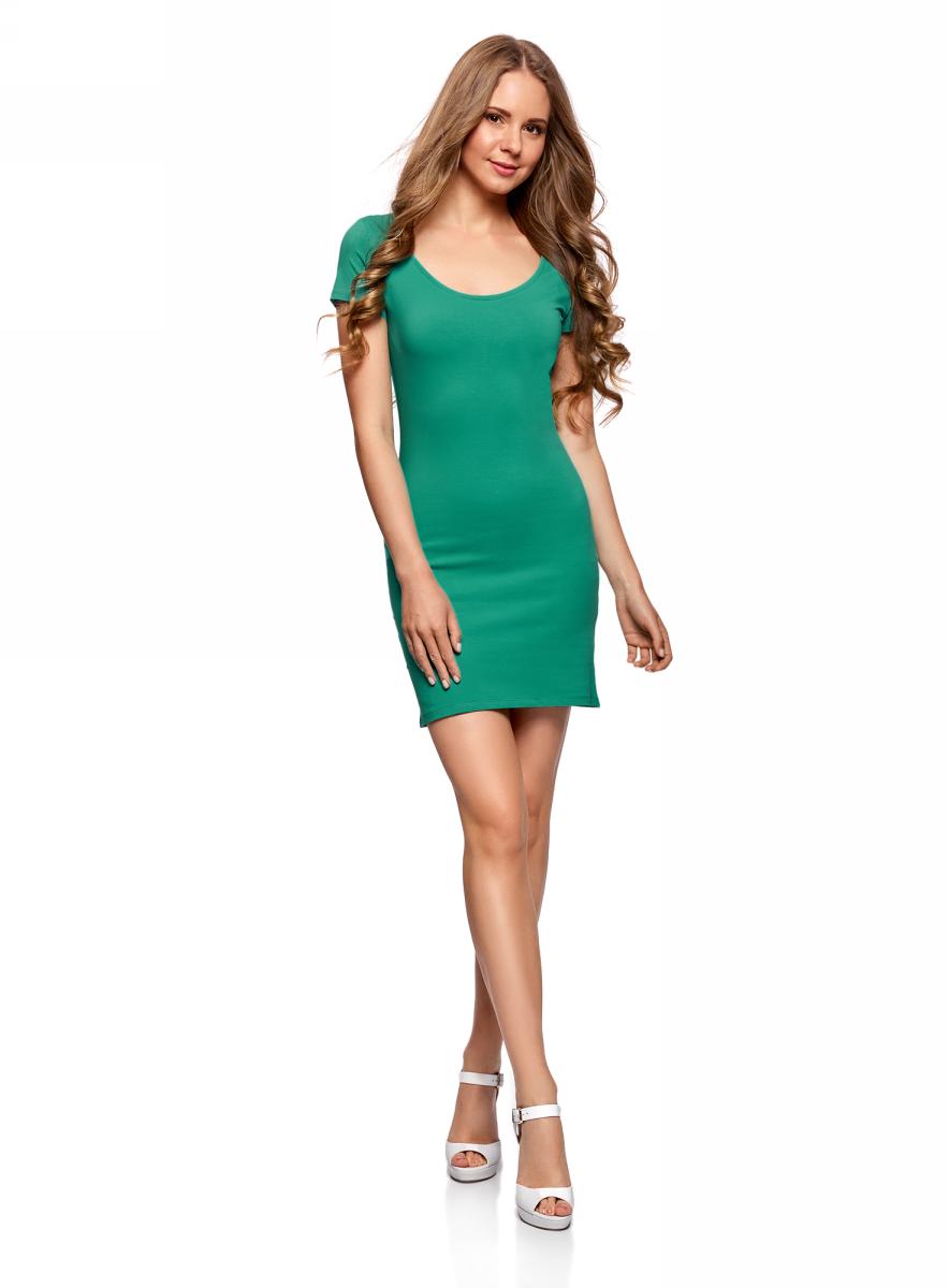 Платье oodji Ultra, цвет: изумрудный, 2 шт. 14001182T2/47420/6D00N. Размер S (44)14001182T2/47420/6D00NТрикотажное платье oodji изготовлено из качественного эластичного хлопка. Облегающая модель выполнена с круглым вырезом горловины и короткими рукавами. В комплекте - 2 платья.