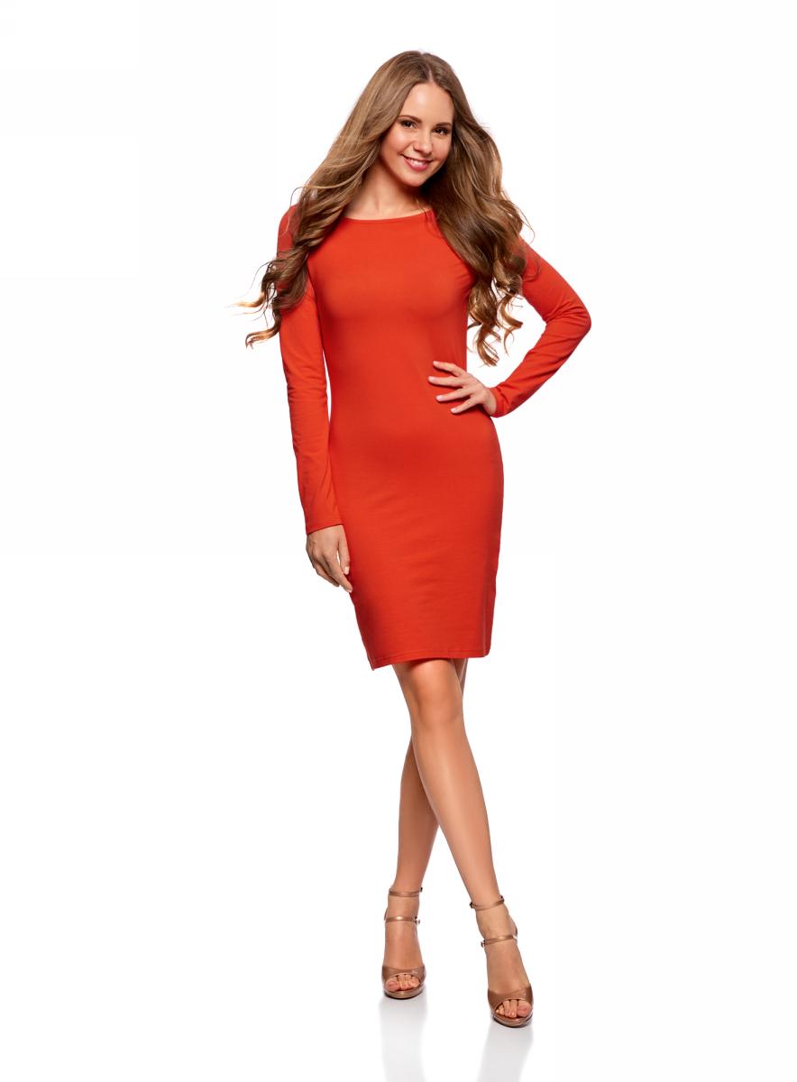 Платье oodji Ultra, цвет: красный. 14001183B/46148/4500N. Размер XS (42)14001183B/46148/4500NПлатье oodji Ultra выполнено из качественного трикотажа. Модель с круглым вырезом горловины и длинными рукавами выгодно подчеркивает достоинства фигуры.