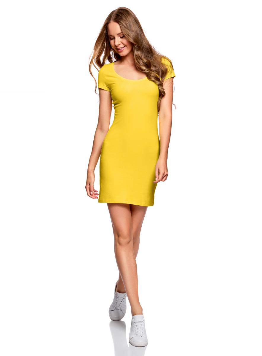 Платье oodji Ultra, цвет: лимонный, 2 шт. 14001182T2/47420/5100N. Размер S (44)14001182T2/47420/5100NТрикотажное платье oodji изготовлено из качественного эластичного хлопка. Облегающая модель выполнена с круглым вырезом горловины и короткими рукавами. В комплекте - 2 платья.