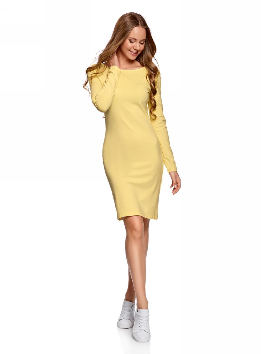 Платье oodji Ultra, цвет: светло-желтый. 14001183B/46148/5000N. Размер S (44)14001183B/46148/5000NПлатье oodji Ultra выполнено из качественного трикотажа. Модель с круглым вырезом горловины и длинными рукавами выгодно подчеркивает достоинства фигуры.