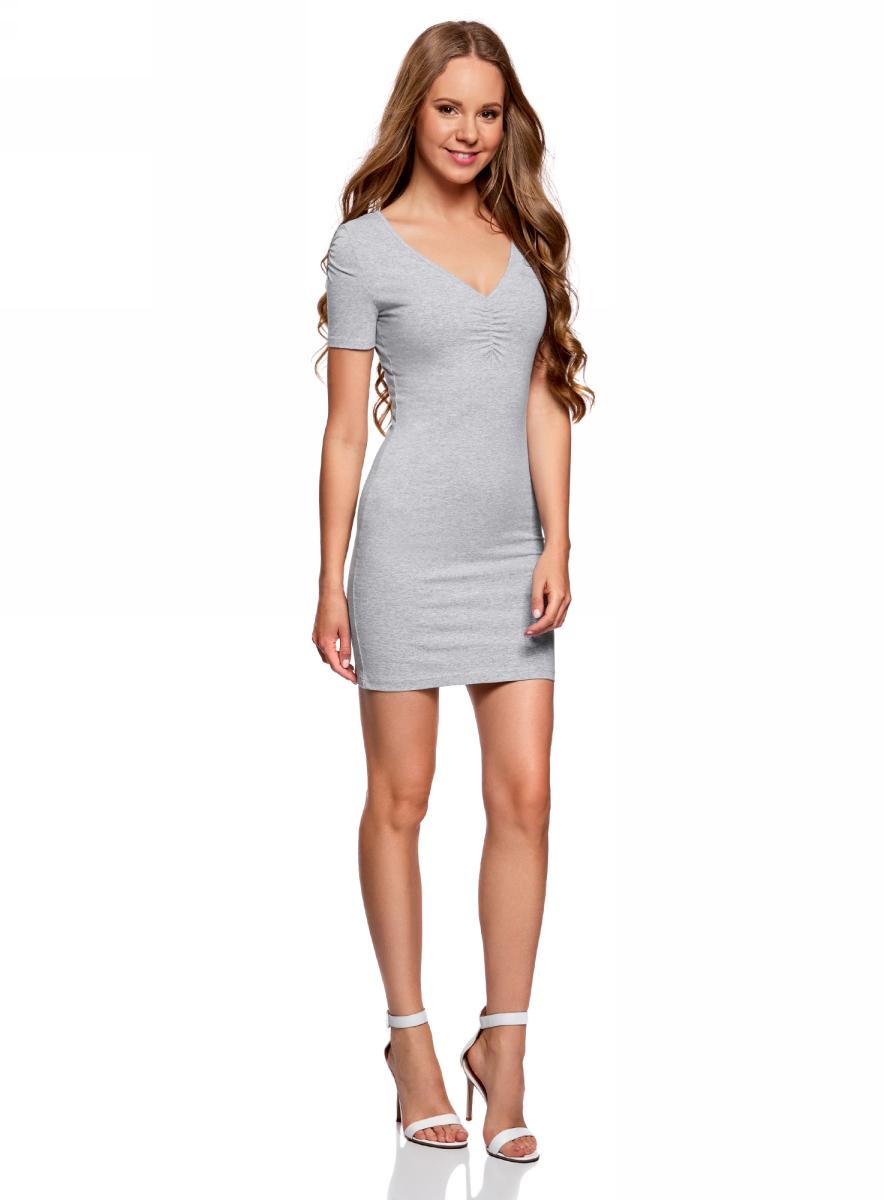 Платье oodji Ultra, цвет: светло-серый меланж. 14001082B/47490/2000M. Размер XXS (40)14001082B/47490/2000MОблегающее платье oodji Ultra выполнено из качественного трикотажа. Модель мини-длины с V-образным вырезом горловиныи короткими рукавамивыгодно подчеркивает достоинства фигуры.