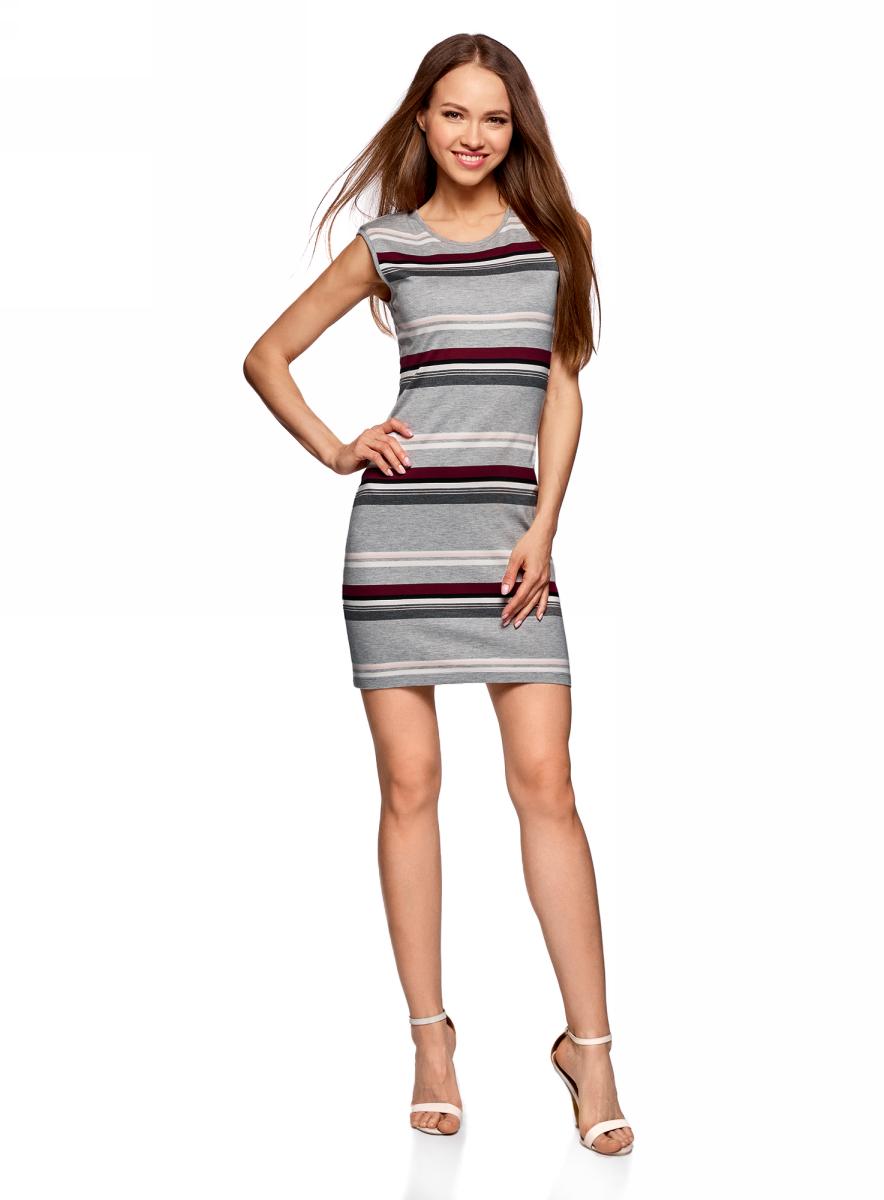Платье жен oodji Ultra, цвет: серый, бордовый, полоски. 14008014-2/46898/2349S. Размер XL (50)14008014-2/46898/2349SПлатье трикотажное облегающего силуэта