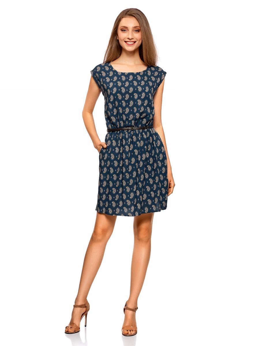 Платье oodji Ultra, цвет: синий, темно-бежевый. 11910073-1/26346/7535E. Размер 34-170 (40-170)11910073-1/26346/7535EПлатье oodji Ultra без рукавов исполнено из легкой струящейся ткани. Платье имеет круглый вырез и резинку на талии. В комплект входит поясок с металлической пряжкой.