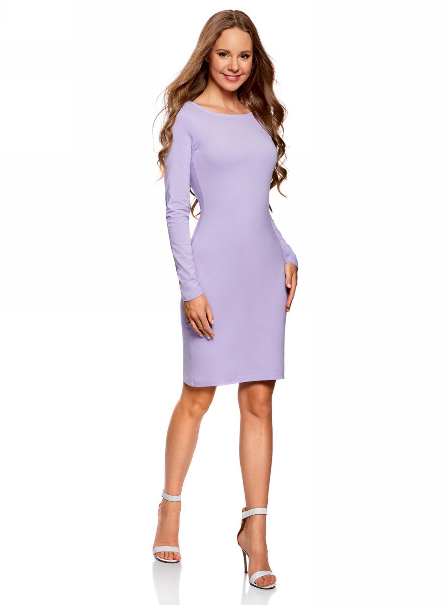 Платье oodji Ultra, цвет: сиреневый. 14001183B/46148/8000N. Размер XXS (40)14001183B/46148/8000NПлатье oodji Ultra выполнено из качественного трикотажа. Модель с круглым вырезом горловины и длинными рукавами выгодно подчеркивает достоинства фигуры.