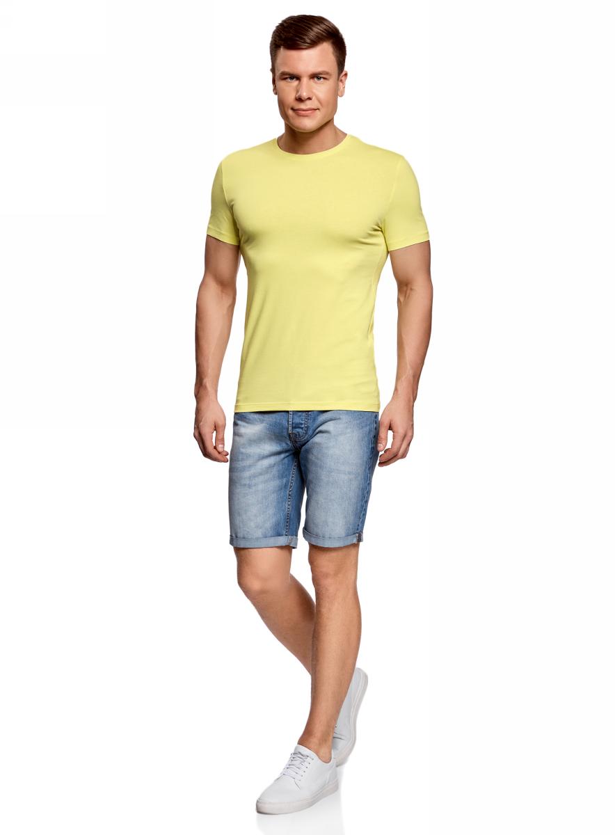 Футболка мужская oodji Basic, цвет: желто-зеленый. 5B611004M/46737N/6700N. Размер XL (56)5B611004M/46737N/6700NМужская базовая футболка от oodji выполнена из эластичного хлопкового трикотажа. Модель с короткими рукавами и круглым вырезом горловины.