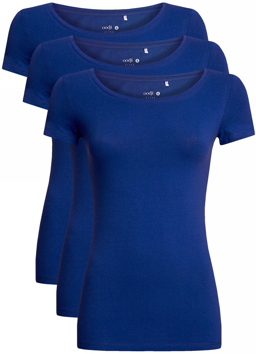 Футболка женская oodji Ultra, цвет: синий, 3 шт. 14701005T3/46147/7500N. Размер S (44)14701005T3/46147/7500NЖенская футболка oodji Ultra выполнена из эластичного хлопка. Модель с круглым вырезом горловины и короткими рукавами. В комплект входят три футболки.