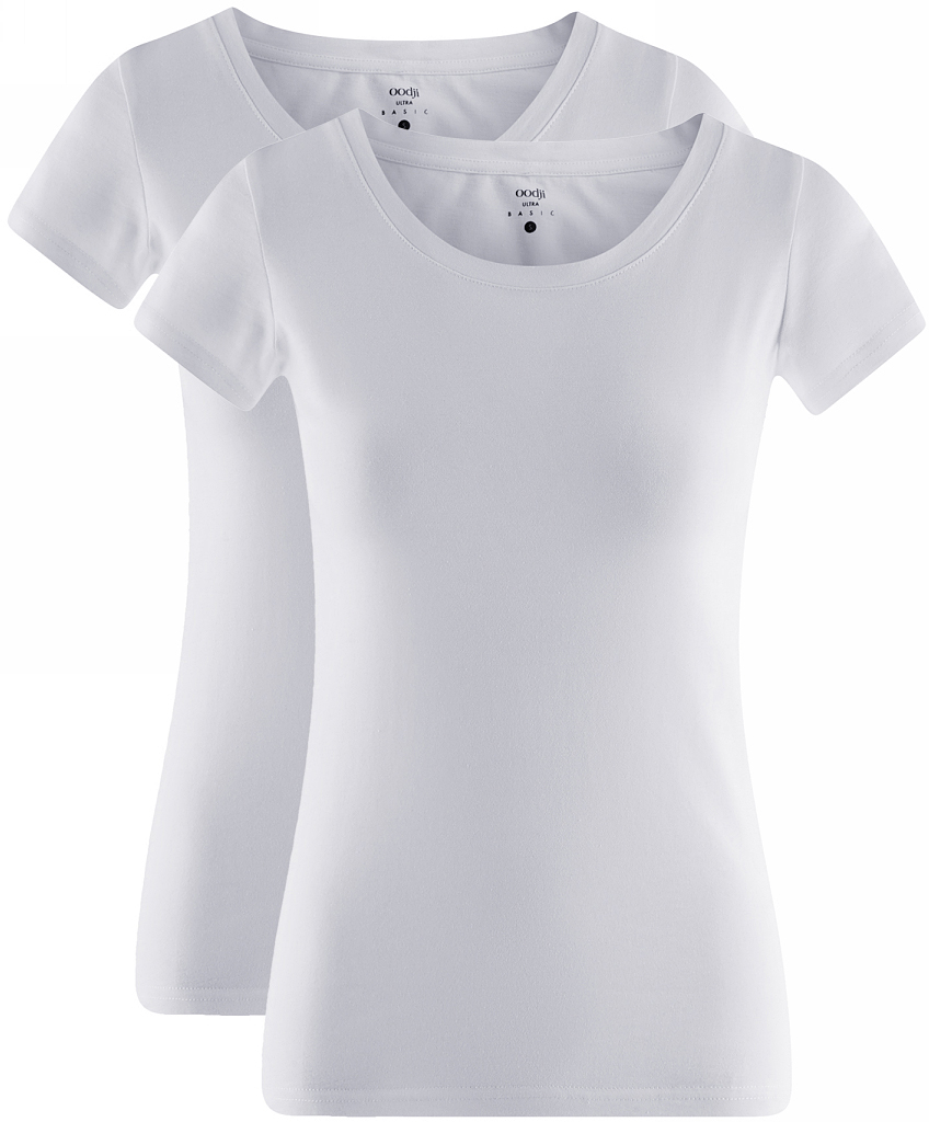 Футболка женская oodji Ultra, цвет: белый, 2 шт. 14701008T2/46154/1000N. Размер S (44)14701008T2/46154/1000NЖенская приталенная футболка выполнена из хлопка. Модель с круглым вырезом горловины и стандартными короткими рукавами. В комплект входят 2 футболки.