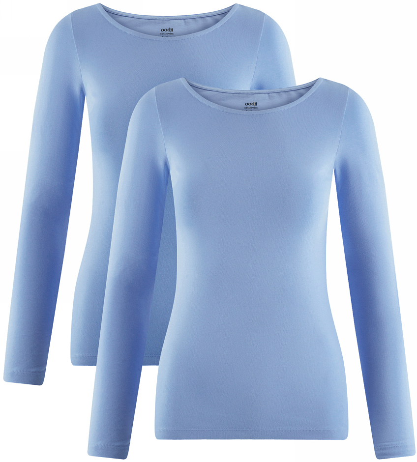 Футболка жен oodji Collection, цвет: голубой, 2 шт. 24201007T2/46147/7001N. Размер S (44)24201007T2/46147/7001NФутболка с длинным рукавом (комплект из 2 штук)