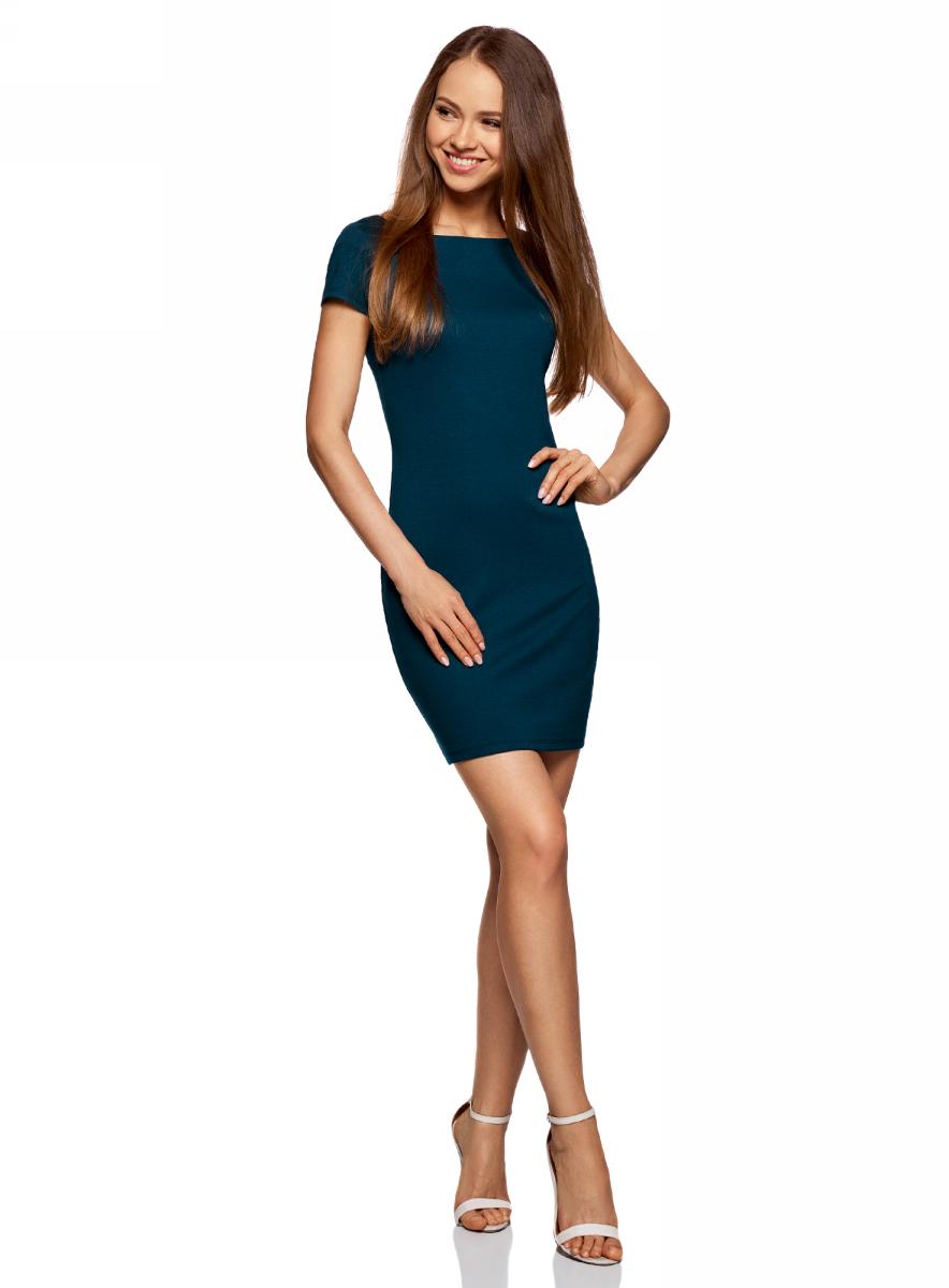 Платье oodji Ultra, цвет: темно-синий. 14001117-1B/16564/7901N. Размер L (48)14001117-1B/16564/7901NТрикотажное платье oodji изготовлено из качественного смесового материала. Облегающая модель выполнена с короткими рукавами и вырезом-лодочкой.