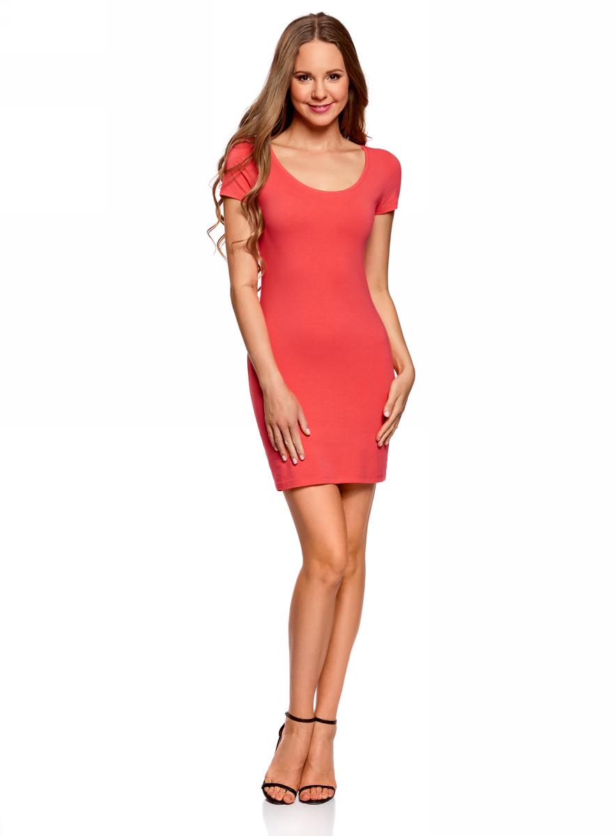 Платье oodji Ultra, цвет: ярко-розовый. 14001182B/47420/4D00N. Размер M (46)14001182B/47420/4D00NОблегающее платье oodji Ultra выполнено из качественного трикотажа. Модель мини-длины с круглым вырезом горловиныи короткими рукавамивыгодно подчеркивает достоинства фигуры.