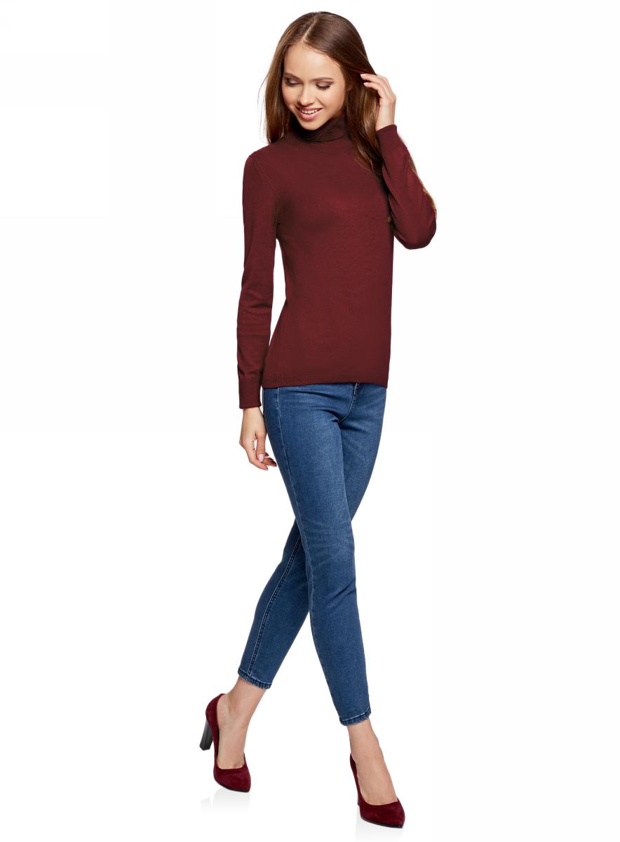 Свитер женский oodji Collection, цвет: бордовый. 74412005-7B/45904/4900N. Размер XL (50)74412005-7B/45904/4900NСвитер вязаный базовый
