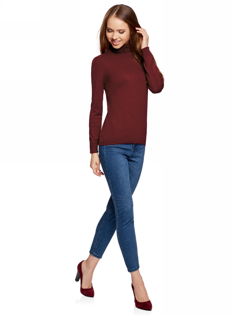 Свитер жен oodji Collection, цвет: бордовый. 74412005-7B/45904/4900N. Размер XS (42)74412005-7B/45904/4900NСвитер вязаный базовый