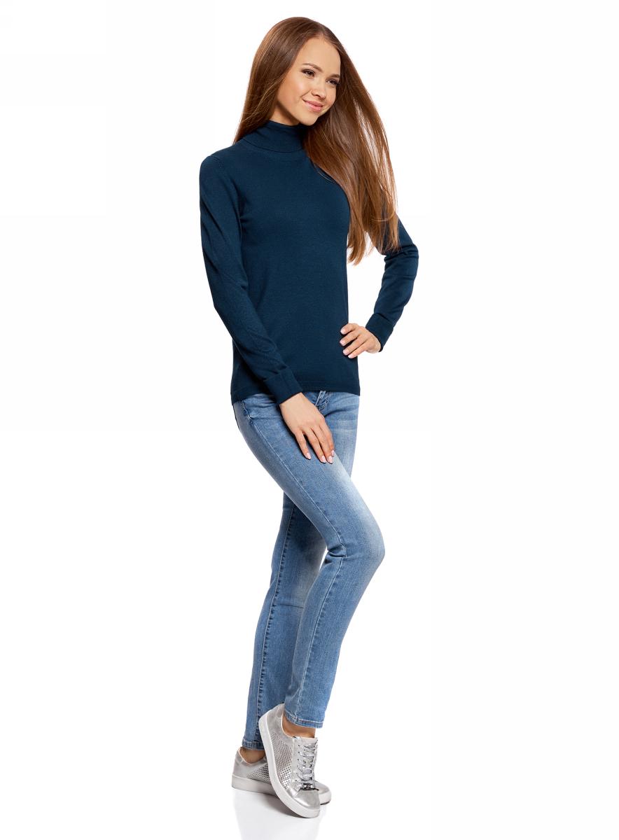 Свитер женский oodji Collection, цвет: темно-синий. 74412005-7B/45904/7900N. Размер XS (42)74412005-7B/45904/7900NСвитер вязаный базовый