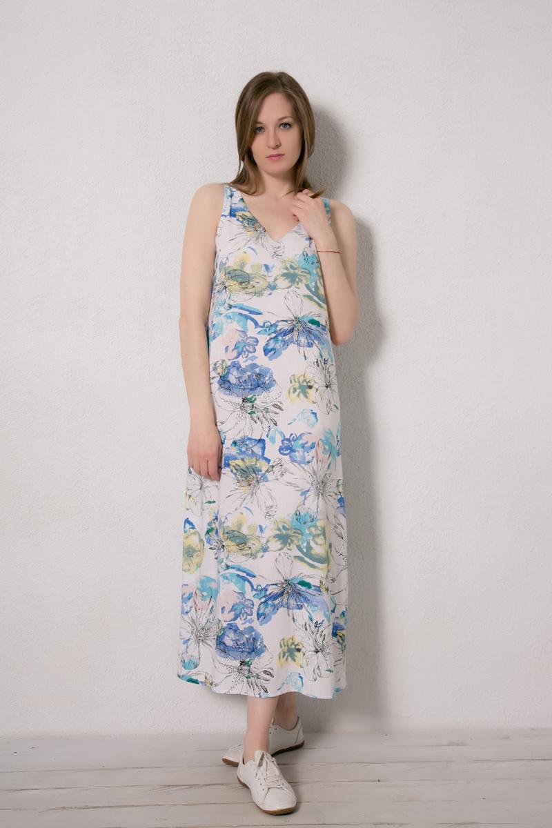 Платье домашнее Marusя Валентино, цвет: белый. 171229. Размер 46171229Домашнее платье Marusя изготовлено из натурального вискозного материала. Изделие длины макси свободного кроя без рукавов.