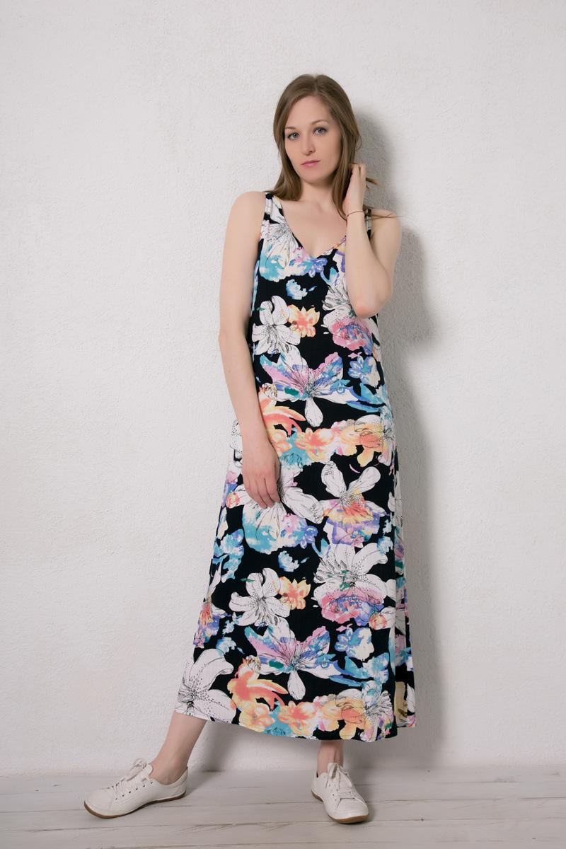 Платье домашнее Marusя Валентино, цвет: синий, цветы. 171229. Размер 46171229Домашнее платье Marusя изготовлено из натурального вискозного материала. Изделие длины макси свободного кроя без рукавов.