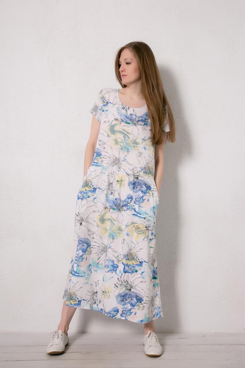 Платье домашнее Marusя, цвет: белый. 171224. Размер 46171224Домашнее платье Marusя изготовлено из натурального вискозного материала. Изделие длины макси свободного кроя с короткими рукавами. Модель дополнена карманами.