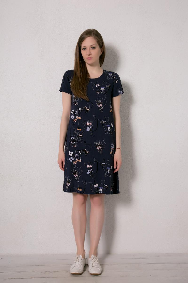 Платье домашнее Marusя, цвет: темно-синий, человечки. 171226. Размер 46171226Домашнее платье Marusя изготовлено из натурального вискозного материала. Изделие длины миди свободного кроя с короткими рукавами.