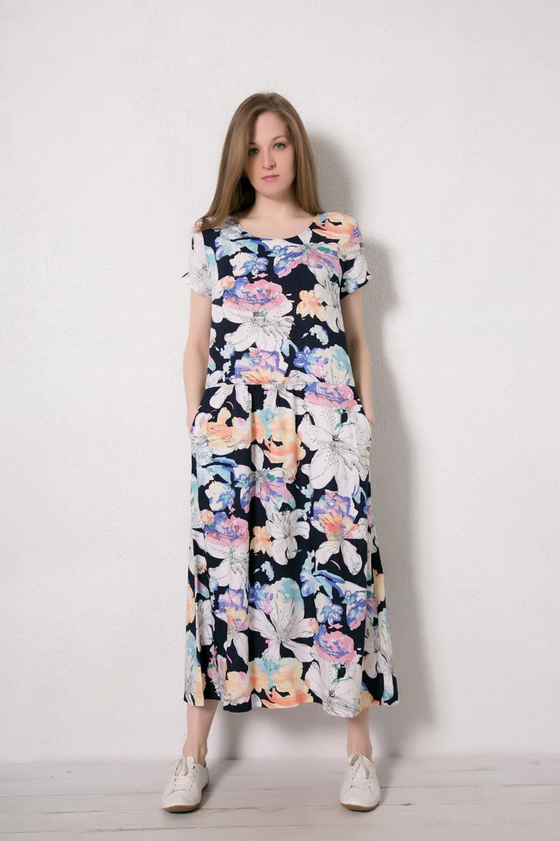 Платье домашнее Marusя, цвет: синий. 171224. Размер 46171224Домашнее платье Marusя изготовлено из натурального вискозного материала. Изделие длины макси свободного кроя с короткими рукавами. Модель дополнена карманами.