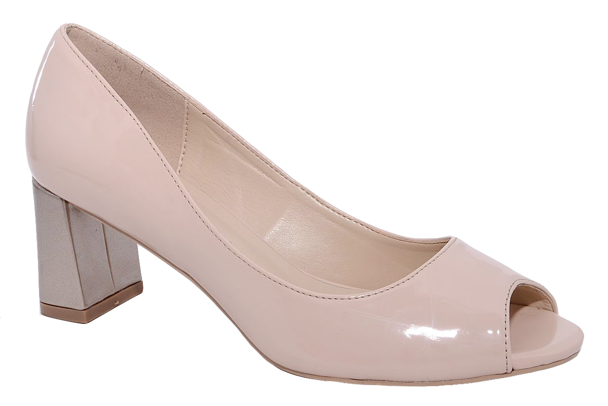 Туфли женские Milton, цвет: бежевый. 42118. Размер 3942118Стильные женские туфли от Milton с открытым сыском на квадратном каблуке выполнены из искусственной лаковой кожи. Подошва изготовлена из термопластичного полимера, стелька выполнена из искусственной кожи.