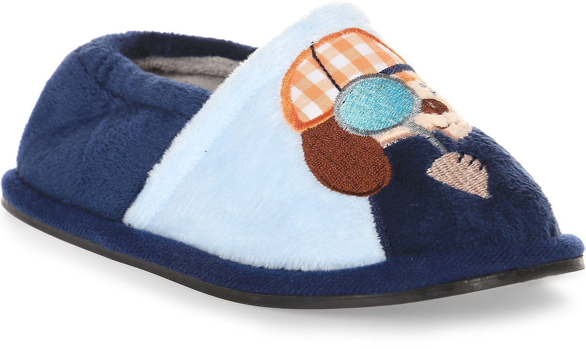 Тапки детские Soxo, цвет: голубой. 40465. Размер 29/3040465Домашние тапочки от Soxo выполнены из качественного текстиля с мягким ворсом. Модель оформлена оригинальной аппликацией. Задник дополнен внутренней резинкой. Подошва изготовлена из гибкой резины.
