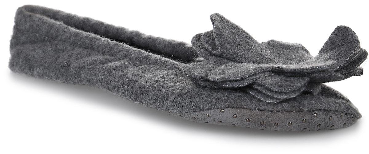 Тапки женские Soxo, цвет: серый. 84810_1. Размер 35/3684810_1Домашние тапочки от Soxo выполнены из качественного мягкого текстиля. Модель оформлена крупным декоративным цветком, а по краям дополнена внутренней резинкой.