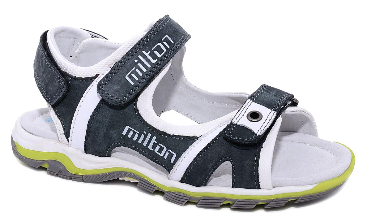 Сандалии для мальчика Milton, цвет: серый. 24433. Размер 3524433Удобные и стильные сандалии Milton очаруют вашего мальчика с первого взгляда! Сандалии дополнены ремешками на липучках. Верх модели выполнен из комбинации натуральной и искусственной кожи. Стелька и подкладка изготовлены из натуральной кожи, благодаря чему обувь дышит, что обеспечивает идеальный микроклимат. Подошва изготовлена из термопластичного полимера.