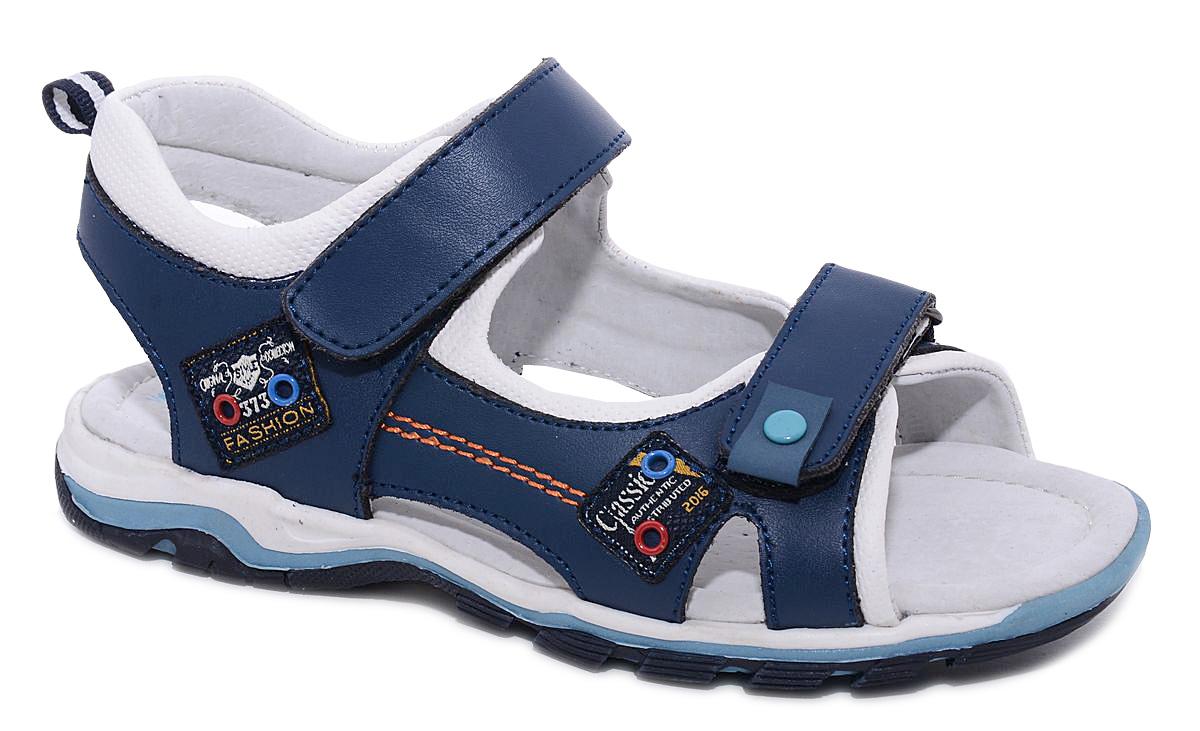 Сандалии для мальчика Milton, цвет: синий. 24431. Размер 3124431Удобные и стильные сандалии Milton очаруют вашего мальчика с первого взгляда! Сандалии дополнены ремешками на липучках. Верх модели выполнен из комбинации натуральной и искусственной кожи. Стелька и подкладка изготовлены из натуральной кожи, благодаря чему обувь дышит, что обеспечивает идеальный микроклимат. Подошва изготовлена из термопластичного полимера.