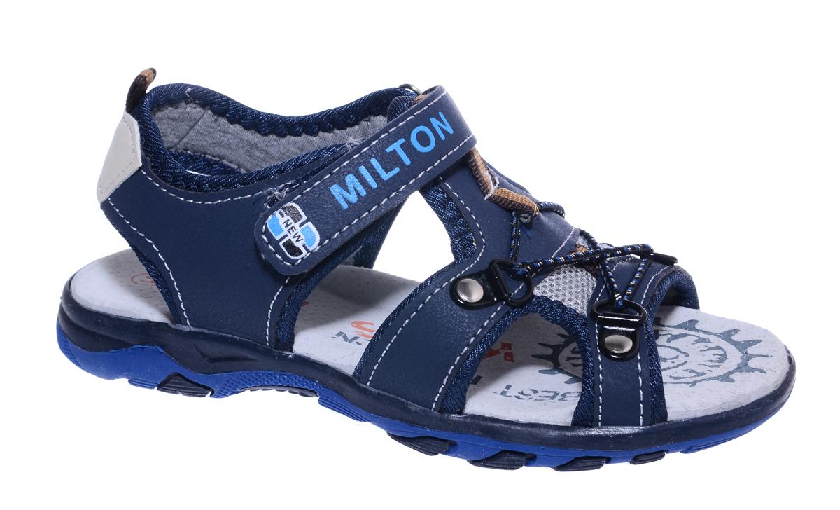 Сандалии для мальчика Milton, цвет: синий. 24435. Размер 3624435Удобные и стильные сандалии Milton очаруют вашего мальчика с первого взгляда! Сандалии дополнены ремешками на липучках. Верх модели выполнен из мягкой искусственной кожи в сочетании с текстилем. Стелька и подкладка изготовлены из натуральной кожи и текстиля, благодаря чему обувь дышит, что обеспечивает идеальный микроклимат. Подошва изготовлена из термопластичного полимера.