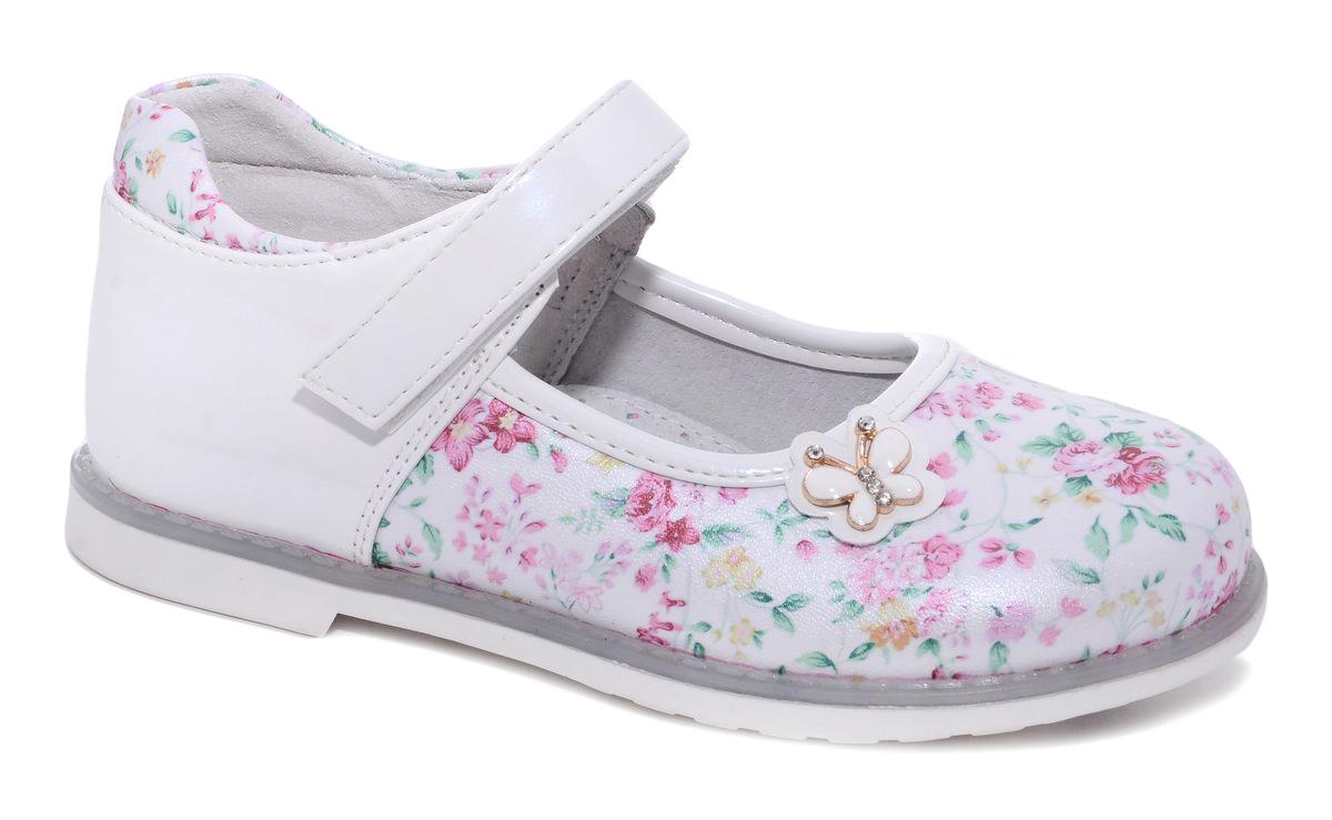 Туфли для девочки Milton, цвет: белый. 21057. Размер 2921057Удобные и стильные туфли Milton очаруют вашу маленькую принцессу с первого взгляда! Туфли дополнены ремешком с липучкой. Верх модели выполнен из мягкой искусственной кожи. Стелька и подкладка изготовлены из натуральной кожи, благодаря чему обувь дышит, что обеспечивает идеальный микроклимат. Подошва, изготовленная из полимера, не скользит и обеспечивает хорошее сцепление с поверхностью.