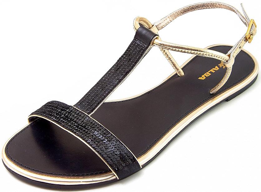 Сандалии женские Alba, цвет: черный, золотистый. 14410-3-00110/87A Q. Размер 3814410-3-00110/87A QЖенские сандалии Alba выполнены из текстиля и натуральной кожи. Модель фиксируется на ноге при помощи ремешка на пряжке. Внутренняя поверхность и стелька из натуральной кожи обеспечат комфорт при движении. Резиновая подошва гарантирует хорошую амортизацию и сцепление с любой поверхностью. Модель украшена пайетками.