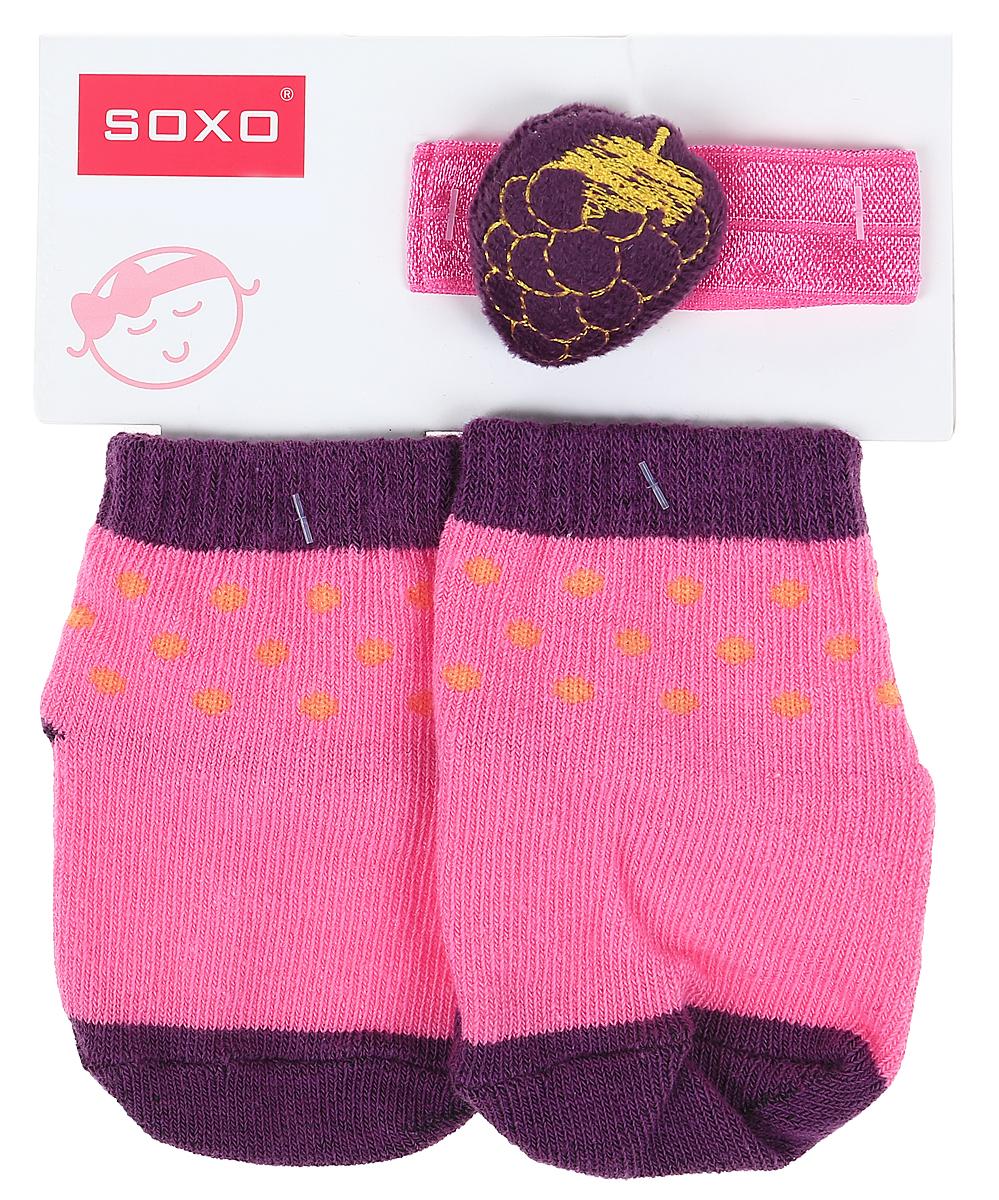 Комплект для девочек Soxo: носки и повязка на голову цвет: ярко-розовый. 65014_4. Размер 16/1865014_4