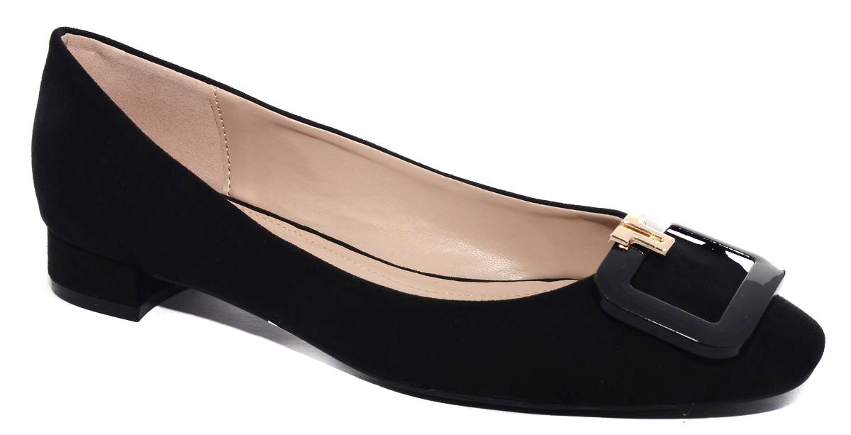 Туфли женские Milton, цвет: черный. 41003. Размер 3841003Стильные женские туфли от Milton на низком квадратном каблуке выполнены из искусственной замши. На подъеме модель оформлена декоративным элементом. Подошва изготовлена из термопластичного полимера.