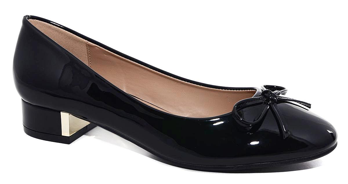 Туфли женские Milton, цвет: черный. 41032. Размер 3941032Стильные женские туфли от Milton на низком квадратном каблуке выполнены из искусственной лаковой кожи. На подъеме модель оформлена декоративным бантиком. Подошва изготовлена из термопластичного полимера.
