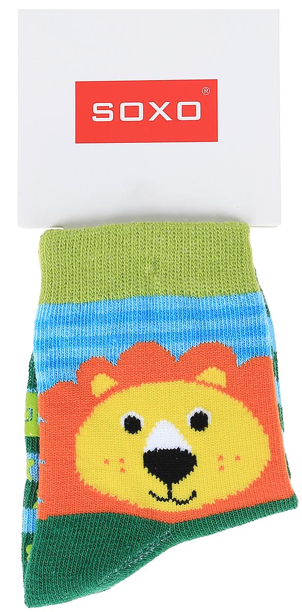 Носки детские Soxo, цвет: зеленый, голубой. 76990. Размер 19/2176990